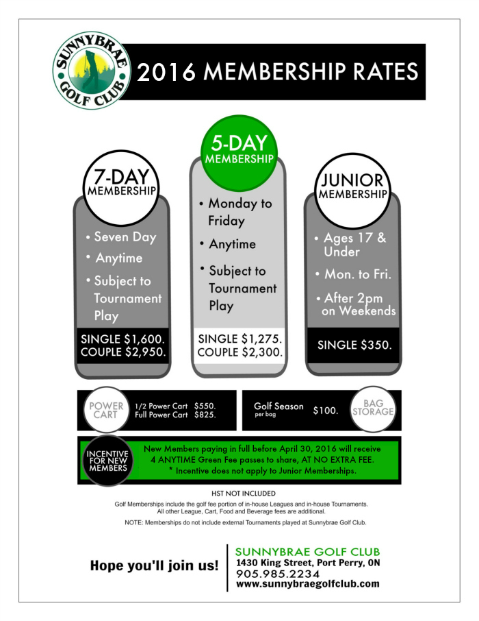2016 Golf Membership Pricing And Incentive Sunnybrae Golf Club Port Perry