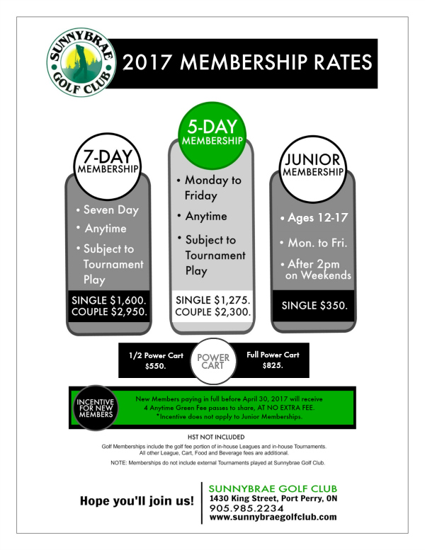2017 Membership Sunnybrae Golf Club with incentive WEB