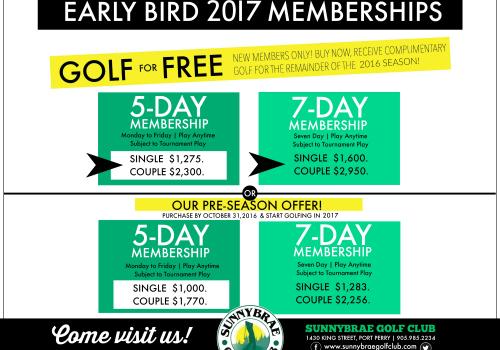 Become a 2017 Sunnybrae Golf Club MEMBER!