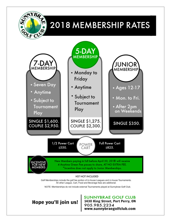 2018 Membership rates with incentive Sunnybrae Golf Club web