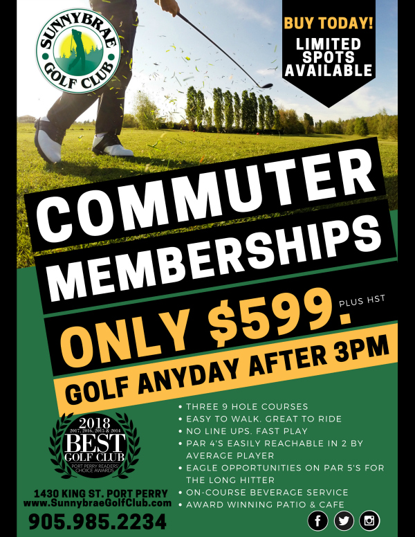 Commuter Golf membership Sunnybrae Golf Club 2018 2019