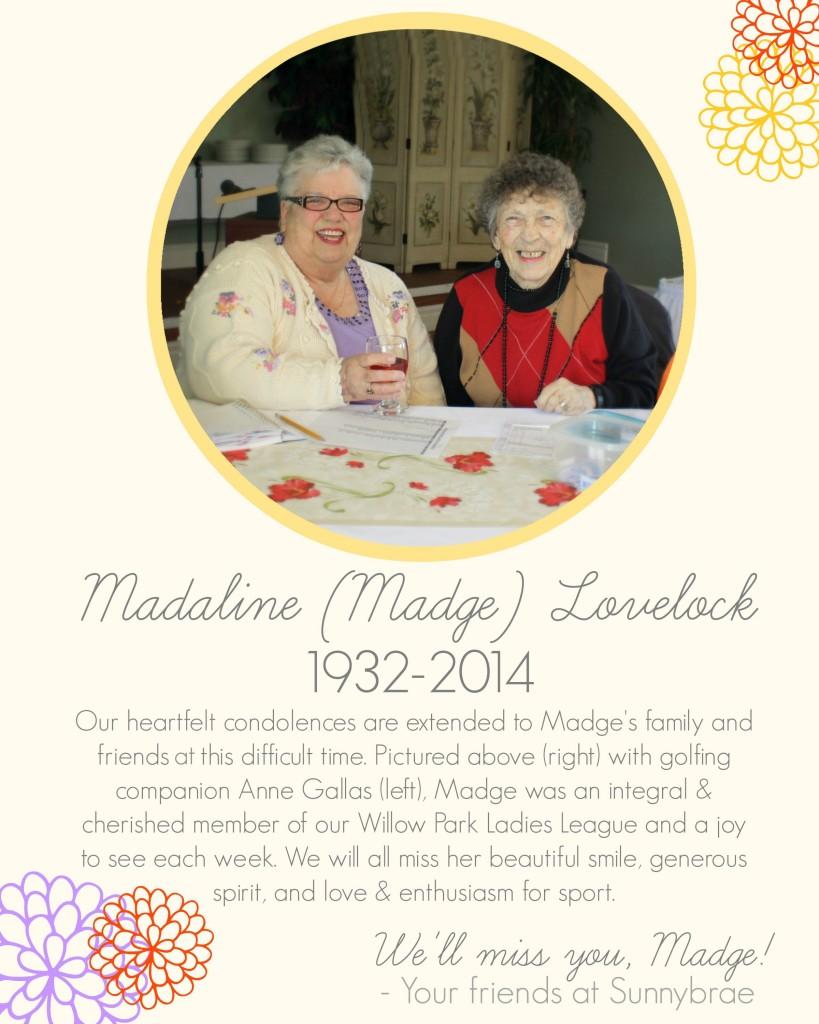 Tribute to Madge Lovelock