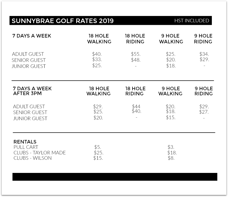 SUNNYBRAE GREEN FEES 2019