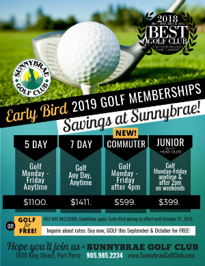 Sunnybrae 2019 Early Bird Rates Golf Port Perry