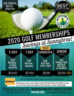 Sunnybrae 2020 Membership Rates Port Perry web