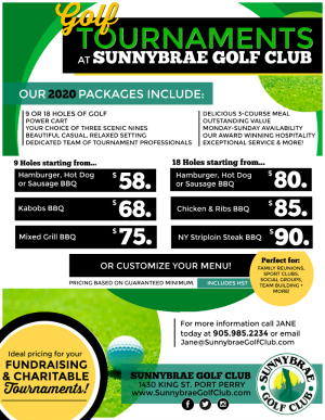 Sunnybrae Golf Tournament packages 2020 Scugog