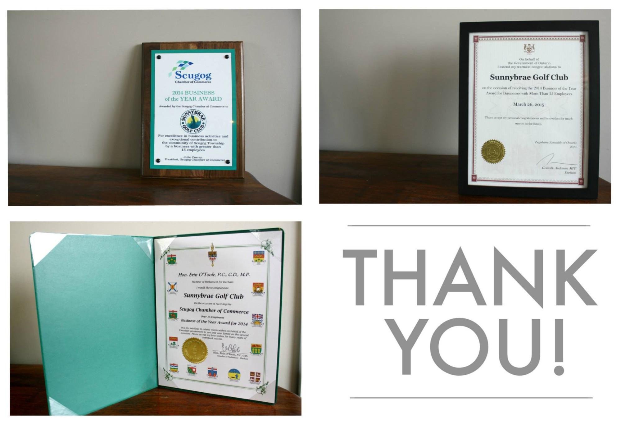 scugog chamber of commerce best business award 2014 2015 Sunnybrae Golf Club