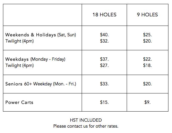 green fee rates 2017 Sunnybrae Golf Club Port Perry