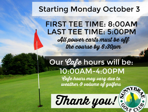 New Tee Time & Cafe hours