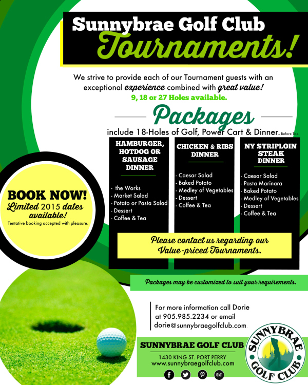 Book your 2015 Golf Tournament today!