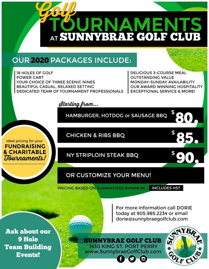 Golf Tournament pricing and rates at Sunnybrae Golf Club, Port Perry