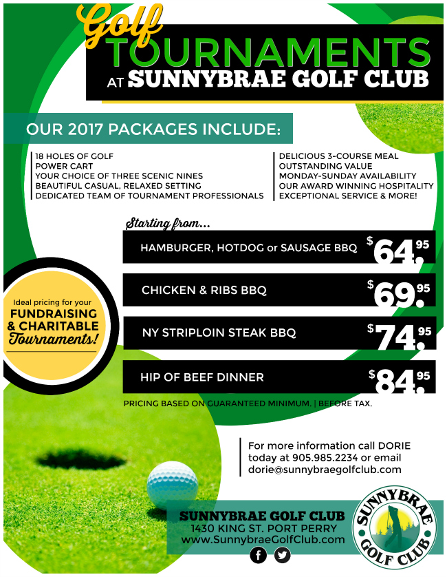 Golf Tournament Pricing Package 2017 Sunnybrae Golf Club Durham Region Port Perry