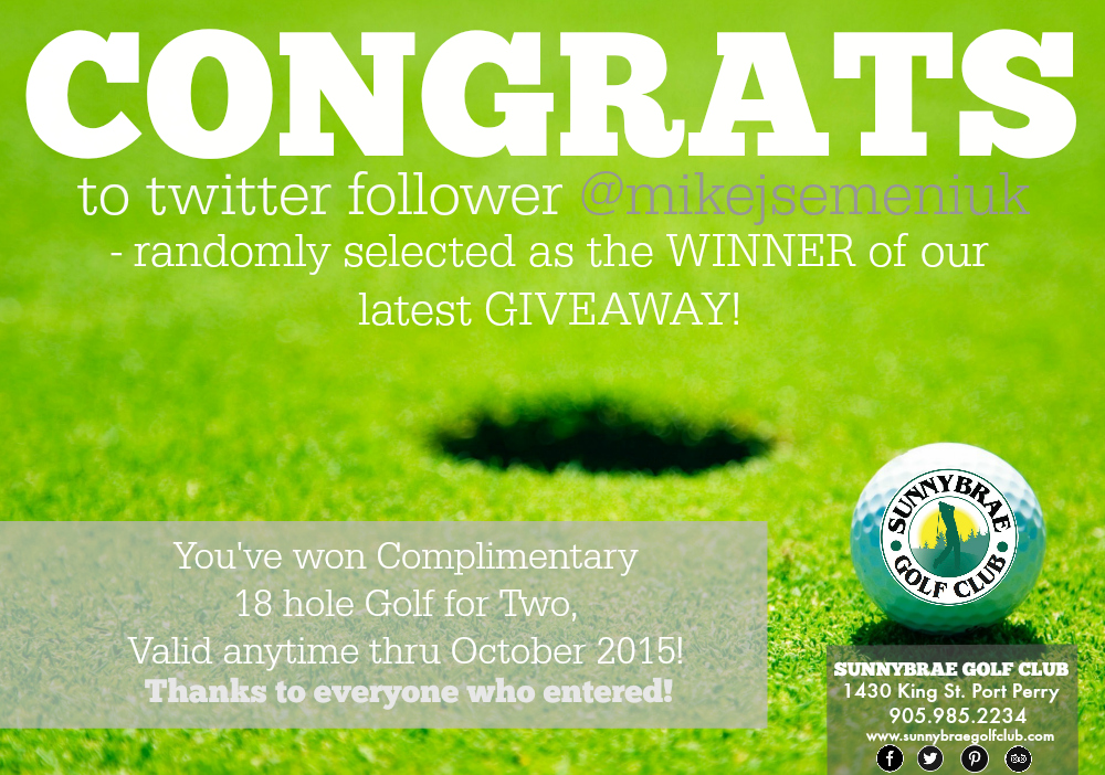 Congrats to our Twitter winner!