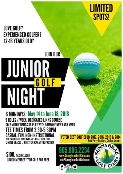 JUNIOR GOLF NIGHT Port Perry League Sunnybrae Golf Club 2018