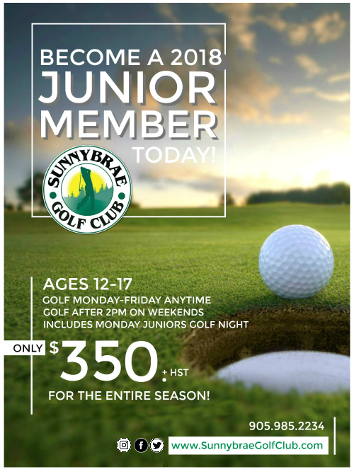 JUNIOR Golf MEMBERSHIP Sunnybrae Golf Club 2018 web