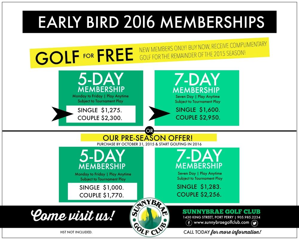 2016 Early Bird Golf Membership Specials Sunnybrae Golf Club