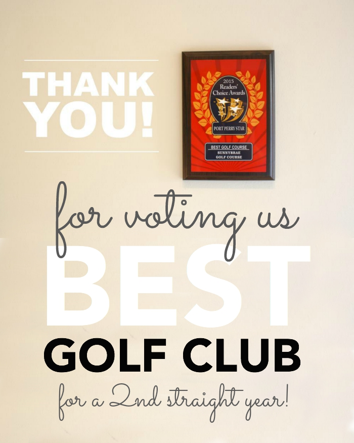 Thank you for voting us Best Golf Club Port Perry