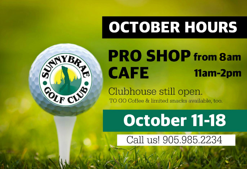 Sunnybrae Golf Club October 2015 Hours