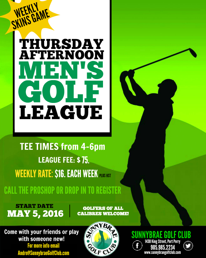 Register for our Men's Golf League