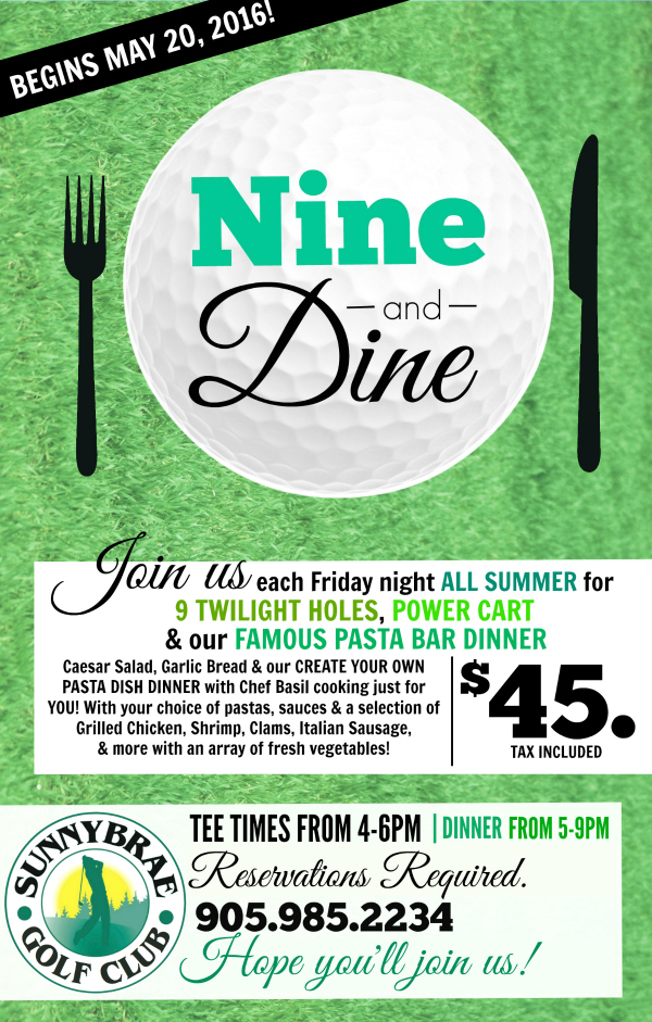 nine and dine golf and pasta dinner at sunnybrae