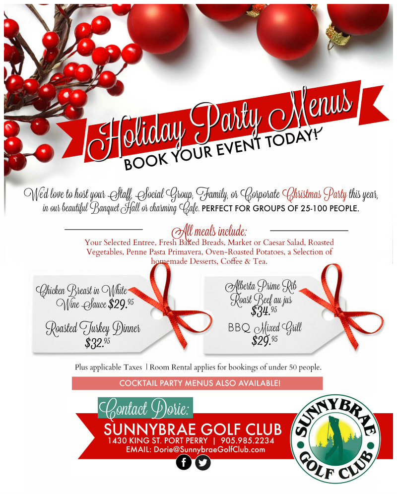 Holiday Party Menus Sunnybrae Golf Club Banquet