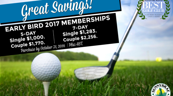 Early Bird Golf Membership Specials until October 31, 2016!