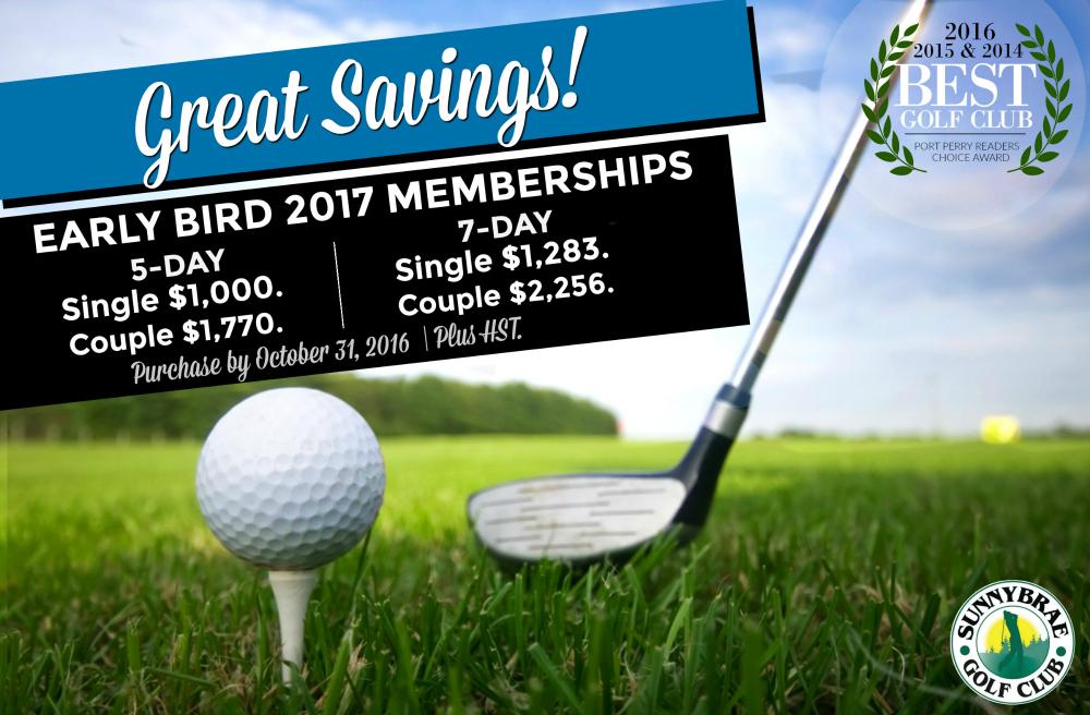 Early Bird Golf Membership Specials until October 31, 2016!