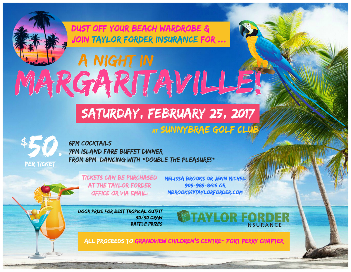 Join Taylor Forder Insurance to celebrate Margaritaville Night in Febuary 2017