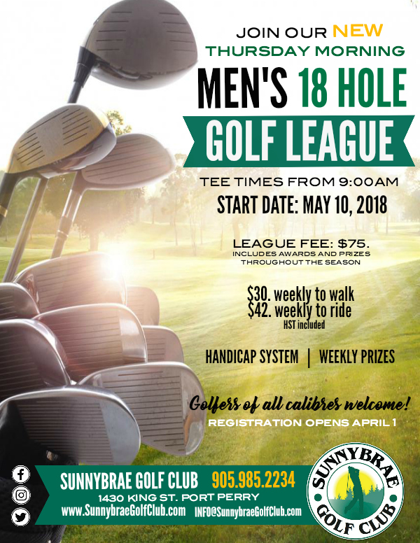 NEW Sunnybrae Men's Morning Golf League in Port Perry!