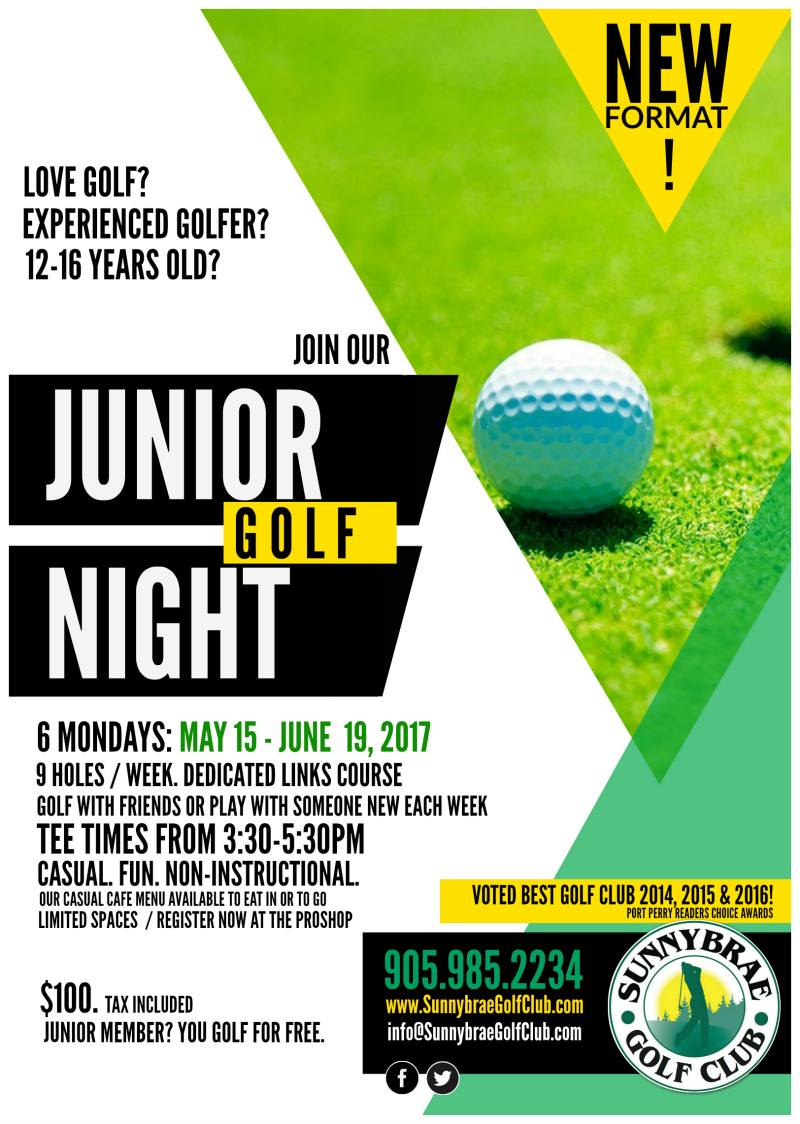 junior golf night Sunnybrae Golf Club 2017 port perry