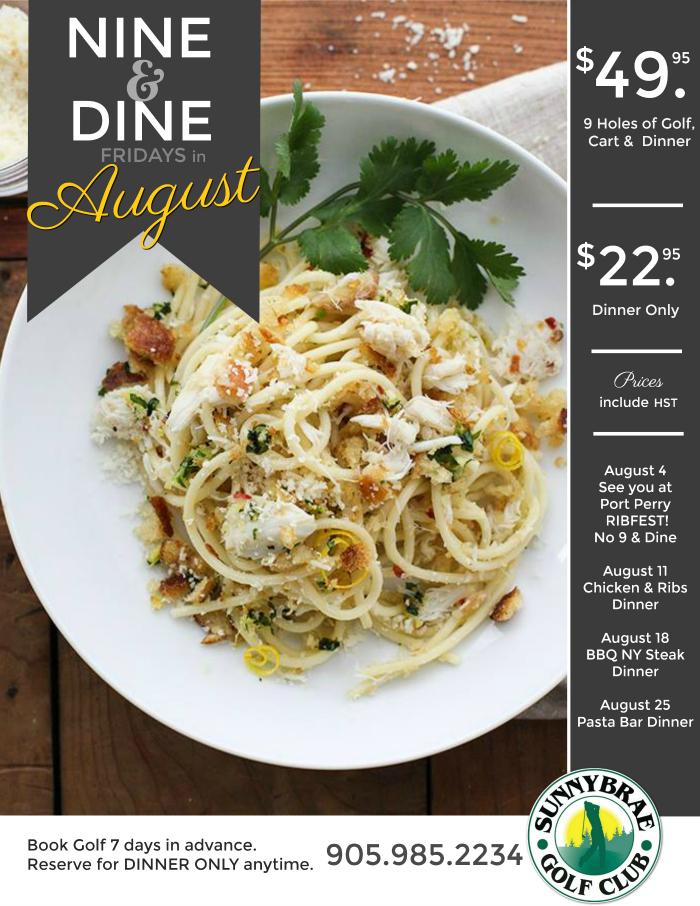 August Nine & Dine Golf & Dinner Specials