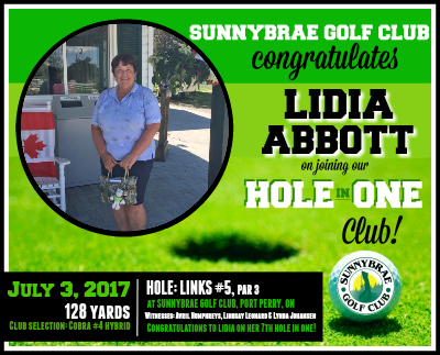 Congratulations to Lidia Abbott on her Sunnybrae HOLE-IN-ONE!
