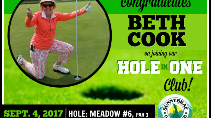 Congratulations to our latest HOLE in ONE golfer, Beth Cook!