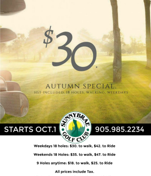 Starting October 1, 2018: Autumn Golf Specials