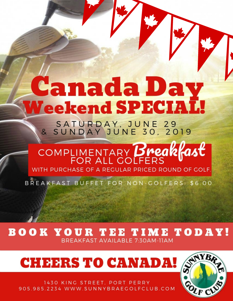 Canada Day Weekend Specials at Sunnybrae!