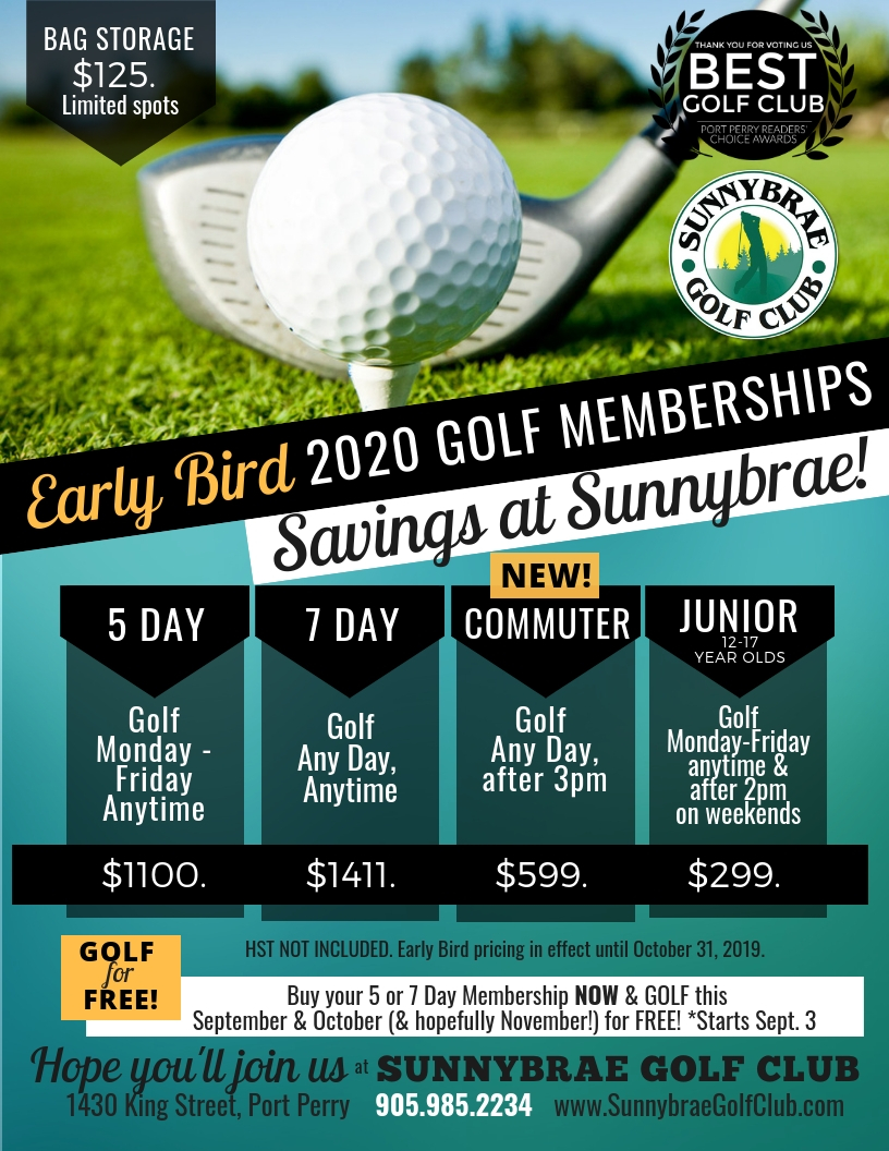 Sunnybrae 2020 Early Bird Rates