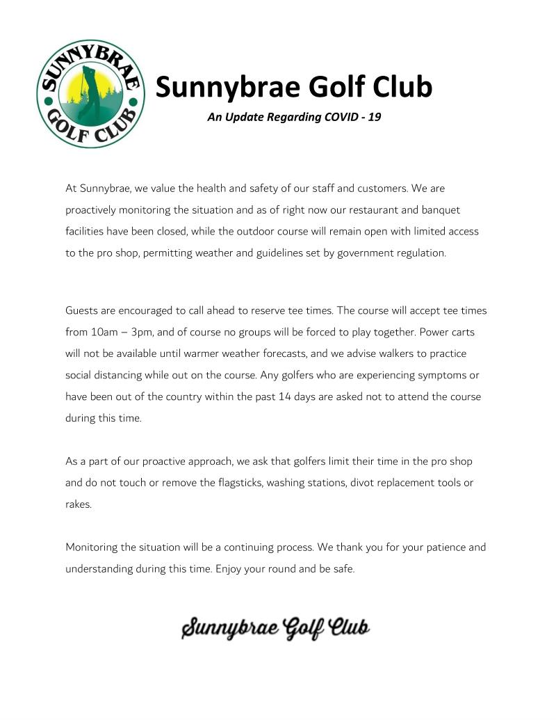 Sunnybrae Covid19 Update 2020