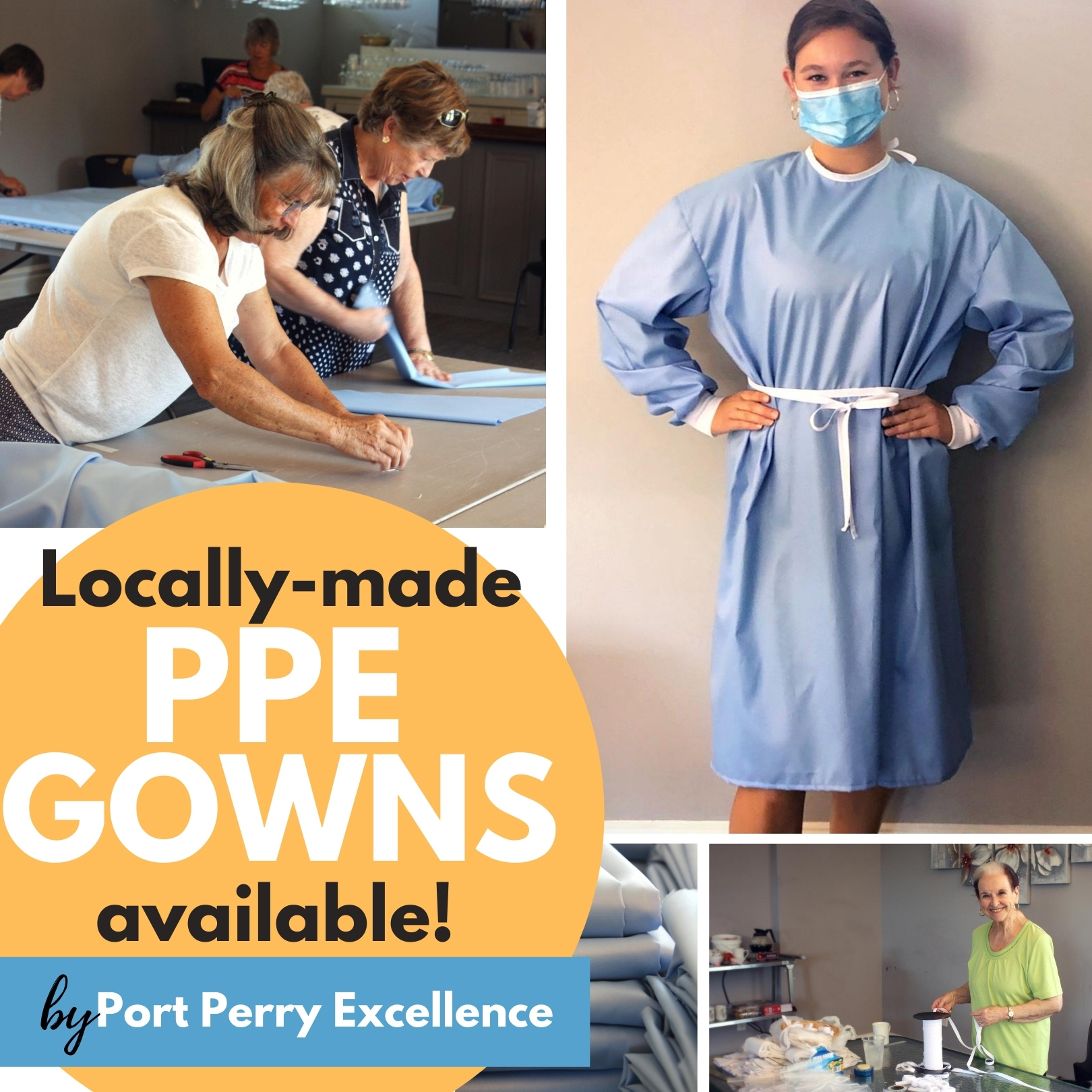 ppe isolation gowns handmade in Port Perry
